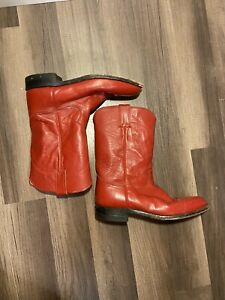 Justin Vintage Red Learher Cowboy Boots Size 8