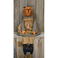 New Primitive Fall Rustic Halloween MISS JACKIE JACK O LANTERN PUMPKIN DOLL Girl