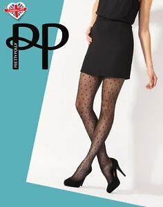 Pretty Polly Geo Spot Sheer Tights Black Geometric Pattern with Spots