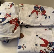 Pottery Barn Kids Football Sports Twin 4 Piece Sheet Set  Fitted Flat 2 Plw Case
