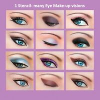 ORIGINAL 3 Set Quick Makeup Stencils+12 Eyeliner Stickies Eye Shadow Eyebrow US1