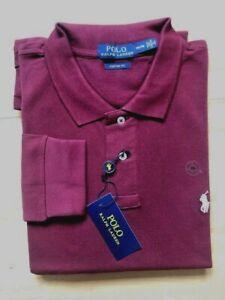Polo Ralph Lauren Mens Long Sleeve Polo Shirt  Wine Burgundy | Size XXL