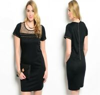 D67 New Womens Plus Size 18/20 Black Work Office Wedding Formal Chic Party Dress