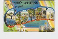 BIG LARGE LETTER VINTAGE POSTCARD GREETINGS FROM GEORGIA ATHENS
