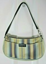 Longchamp France Satchel Purse Striped Canvas Leather Strap Small