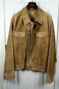 BNWT TOM FORD Gold suede calfskin jacket! 56 IT - 46 US! $7,600