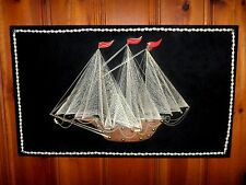 Vintage 1960's String Art Picture 3D Tall Sailing Ship Thread Retro - Awesome!