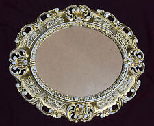 Picture Frame Antique Gold-White Oval 45x37 Baroque Photo with Glass
