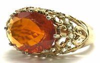 Sterling Silver Opaque Orange Citrine Prasiolite - Diamond Accent Cocktail Ring