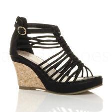 Sandalias y chanclas de mujer negros de tacón alto (más que 7,5 cm) de piel sintética