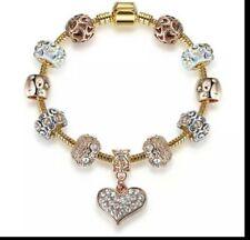 stunning shamballa gold /rhinestone ladies charm bracelet, valentine heart