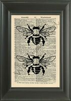 ORIGINAL - Bees - Vintage Dictionary Page Art Print - Wall Hanging - NO.208B