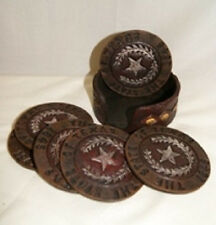 State of Texas Lonestar Coaster Set (6 coasters and Holder)