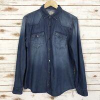River Island Women's Chambray Denim Button Front Long Sleeve Shirt Top Sz Medium