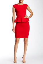 NWT! $264 alice + olivia Victoria Short Sleeve Peplum Dress Red [SZ 0] #759