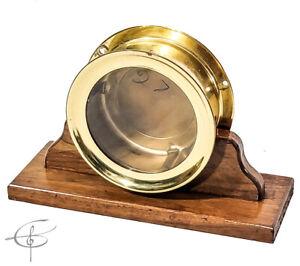 "Vintage 6"" Brass Ships Chelsea Clock Case w Original Glass"