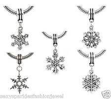 "5 Pc. ""Christmas Snowflake"" European Charms for snake chain charm bracelets"