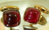 Cool Vintage 40's Art Deco Red Lucite Modernist Cuff Links 166JL6