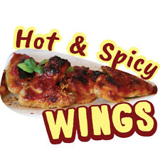 Hot Amp Spicy Wings Concession Decal Sign Cart Trailer Stand Sticker Equipment