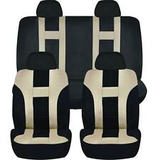BEIGE & BLACK DOUBLE STITCH SEAT COVERS 8PC SET for TOYOTA CAMRY TACOMA
