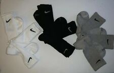 New $60 Nike Dri Fit Dry Cushioned Cotton Crew Socks 9 Pair Lot Grey White Black