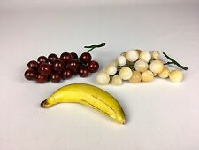 Vintage Italian Stone Fruit Carved Banana And Grapes