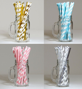 Packs 30 Drinking Paper Straws Gold Silver Pink Blue Parties Events Wedding UK