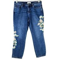 J Jill Authentic Fit Cropped Floral Embroidered Jeans Blue Denim Size 8 WJ18