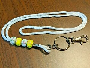 Lanyard ID Holder Beaded Accents Lobster Claw Light Weight Lamp Work YellowWhite