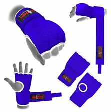 Hand Wrap Blue Padded GEL inner boxing glove MMA Quick wraps Adult Large bandage