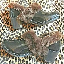 Rare 1940s Women Bohemian Clogs Shoes~Black Patent Leather & Shearling Lining~ 7
