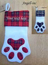 Personalised ANIMAL Paw Print Pet Christmas stocking Embroidered DOG CAT XMAS UK