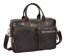 Pure Leather Briefcase Laptop Office Business Bag Multi Pockets Satchel BROWN
