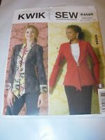 WOMENS UNCUT KWIK SEW K4029 Sewing Pattern CASUAL JACKET BLAZER SIZE XS-XL