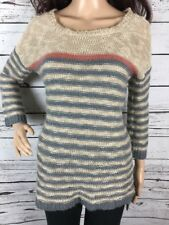 Pink Rose Pullover Sweater Medium Gray Beige Club Stripe Soft Knit Casual Femme