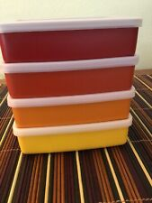 Set of 4 NEW vintage Tupperware Square A way Sandwich Keepers Containers 670