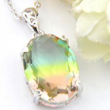 Unique Oval Watermelom Bi Colored Tourmaline Gems Retro Silver Necklace Pendant