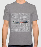 American Airlines MD-80 with Airport Codes - T-Shirt