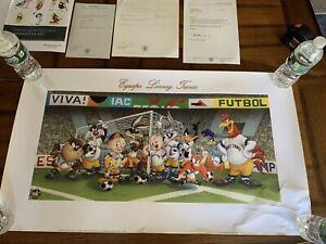 Warner Bros Equipo Looney Tunes Futbol Soccer World Cup Litho Art W/ COA