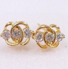 Women Men Unisex 18K Yellow Gold Plated Simulated Diamond Circle Stud Earrings