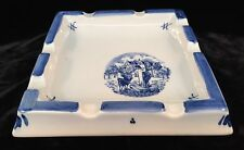 Hand Painted Delft Blue ZENITH GOUDA Square Cigar Ashtray Holland Signed