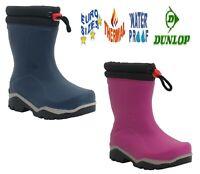 Kids Dunlop Waterproof girls Boys Warm Lined Thermal rain Snow mud wellies Boots