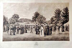 19th Century Print Beaumont College H. J Brooks-E.W. Evans Pencil Signed  LARGE!