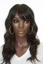 Black Brunette Long HumanBlend Skin Top Wavy Wigs