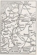 E0345 Russia - Kowel - Rogachev - Minsk - Riga - 1942 Mappa epoca - Vintage Map