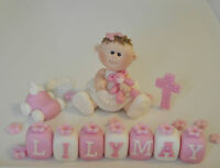 EDIBLE BABY GIRL NAME BLOCK CROSS AGE CHRISTENING DECORATION TOPPER TEDDY
