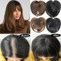 Women Toupee With Bangs Synthetic Straight Hair Hand-Made Clip Topper Hairpiece