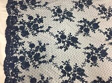 Sensational Navy Blue Flowers Embroider And Corded On a Polkadot Mesh Lace-us