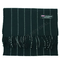 Women 100% CASHMERE Warm Black Line Scarf pure Wool MADE IN SCOTLAN