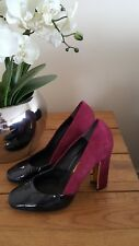 Stunning Pour la Victorie ladies pink suede and black patent block heel shoes 5